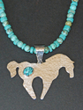 hand fabricated,  sterling silver, stamped & hammered texture, horse pendant set with turquoise, turquoise bead necklace by Judy Osburn - Soldered Metal