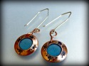 stamped copper, round discs, custom tinted resin, blue, sterling ear wires - Earrings Jewelry