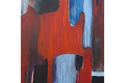 abstract, blue and orange, Laurie MacMillan - Abstract Painting