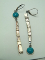 METAL AESTHETICS,TEXTURED TEXTURED SILVER EARRINGS WITH TURQUOISE CAB - Earrings Jewelry