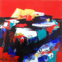 red, sky, abstract, painting, square, series - Abstract Painting