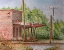 Grocery store, Train Station, South Carolina, watercolor - Realism Painting
