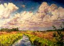 tidal creek,charleston,lowcountry,clouds,summer,sunlight,marsh,vegetation - Landscape Painting
