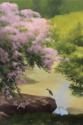green,myrtles,bird,water,garden,foliage,pink,flowers,rocks,reflections - Landscape Painting