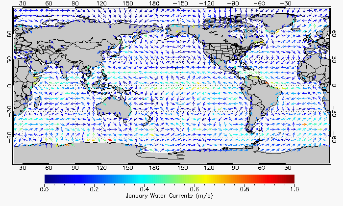 global surface currents for january, read description for more info