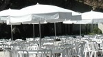 White Patio Umbrellas for Rental Industry
