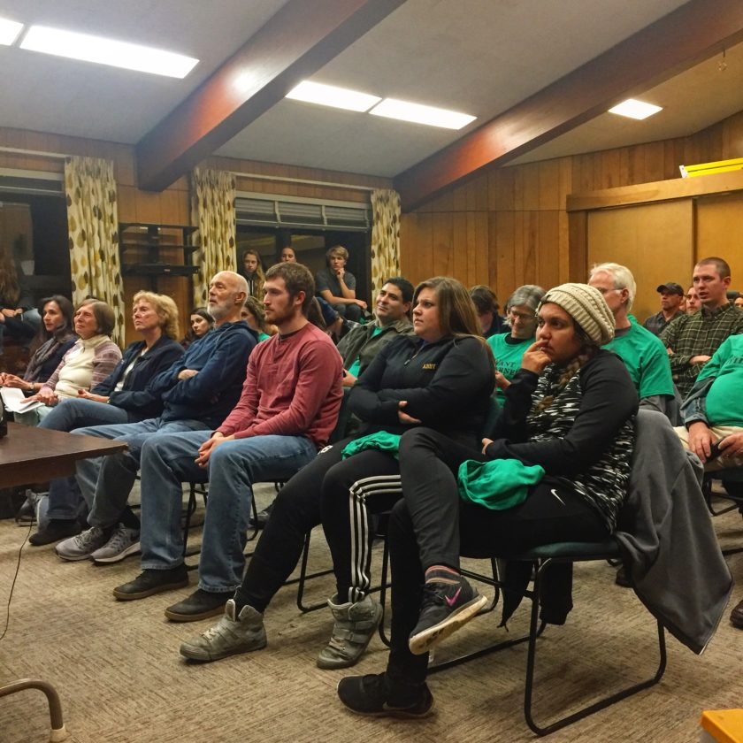 Wilderness advocates in Ray Brook on Wednesday night filled two rooms to capacity at the first of eight Adirondack Park Agency statewide hearings on a state land classification package, including the Boreas Ponds in North Hudson. (Photo provided — Adirondack Council)