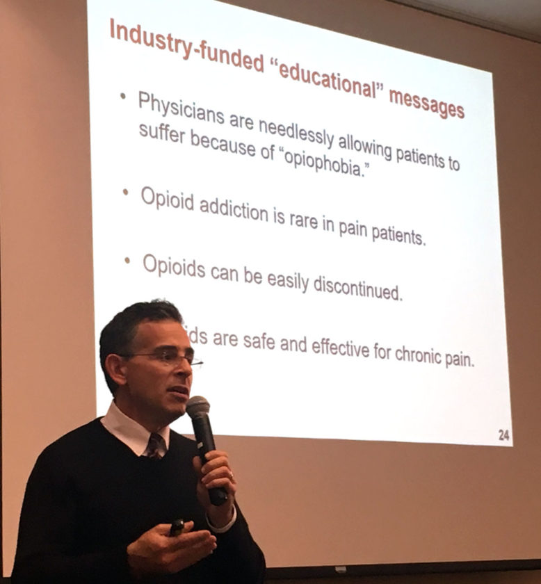Andrew Kolodny, an expert on the heroin and opioid epidemic, speaks at a forum on the issue at the Conference Center at Lake Placid Friday that was attended by many local doctors, dentists and educators. (Enterprise photo — Antonio Olivero)