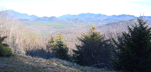 The lack of local snow cover was evident in this November photo of the village of Lake Placid taken from the east side of Scarface Mountain in Ray Brook. (Photo — Joe Hackett)
