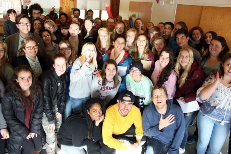 High school students and visiting performance poets pose for a group photo at Paul Smith's College on Oct. 28 during the Adirondack Center for Writing's annual high school writing retreat (Photo provided)