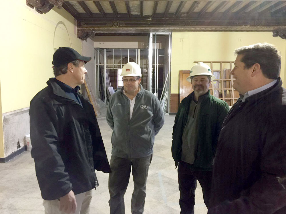 Gov. Andrew Cuomo, left, tours the Hotel Saranac renovation site Tuesday afternoon. From right are hotel owner Fred Roedel III, project consultant Dan Ott and JNK Home Enterprises Director of Operations Kevin Knobloch. (Photo provided by the governor's office)
