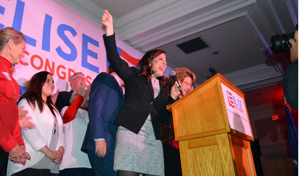 U.S. Rep. Elise Stefanik celebrates her re-election victory on the night of Election Day in Glens Falls. (Enterprise photo — Antonio Olivero)