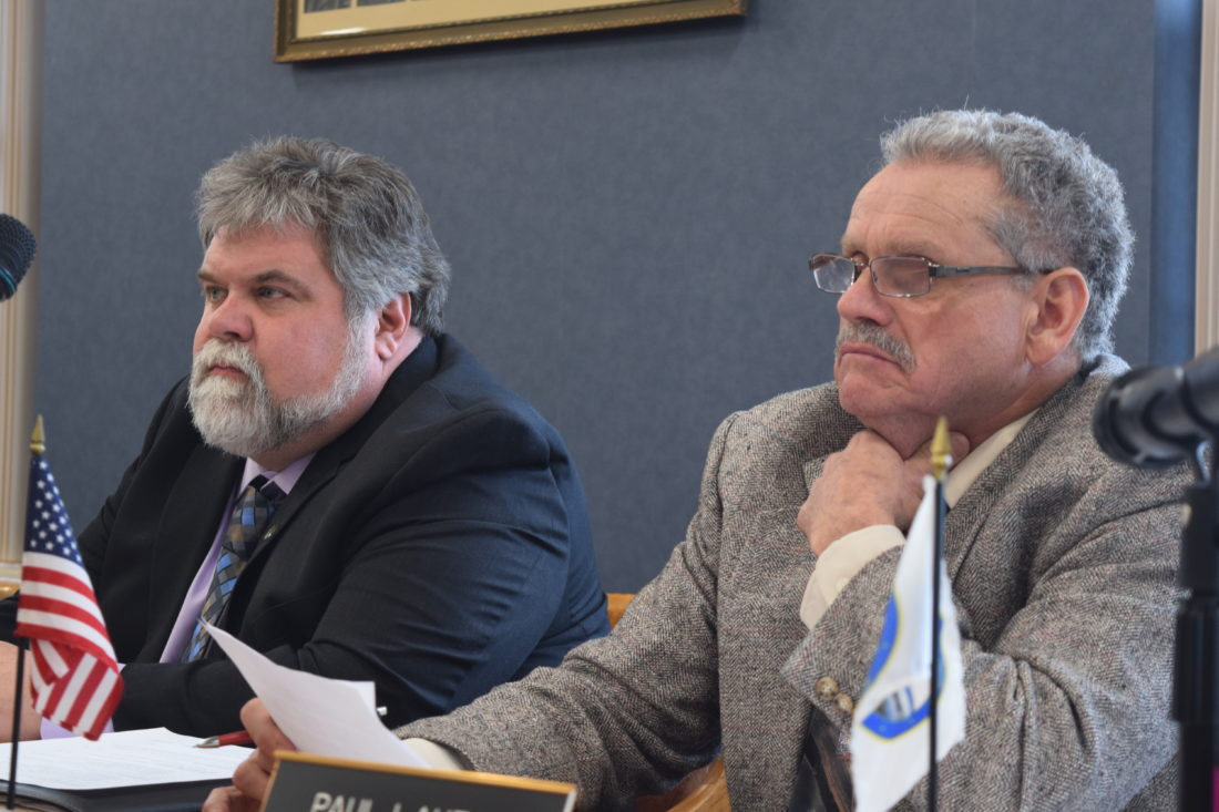 Greg Janisewski of Chateaugay, left, and Paul Lauzon of Fort Covington are two of the three new Franklin County legislators to take their seats Thursday in Malone. The other is Andrea Dumas of Malone, not pictured. (Enterprise photo -- Chris Knight)
