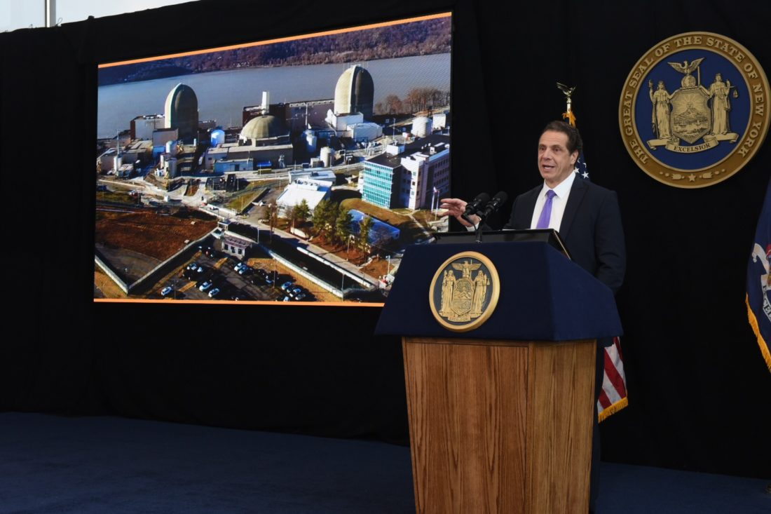 Gov. Andrew Cuomo presents his 2017 State of the State address at 1 World Trade Center in New York City Monday. This is the first of six regional addresses the governor is presenting around New York state. (Photo provided — Kevin P. Coughlin, governor's office)