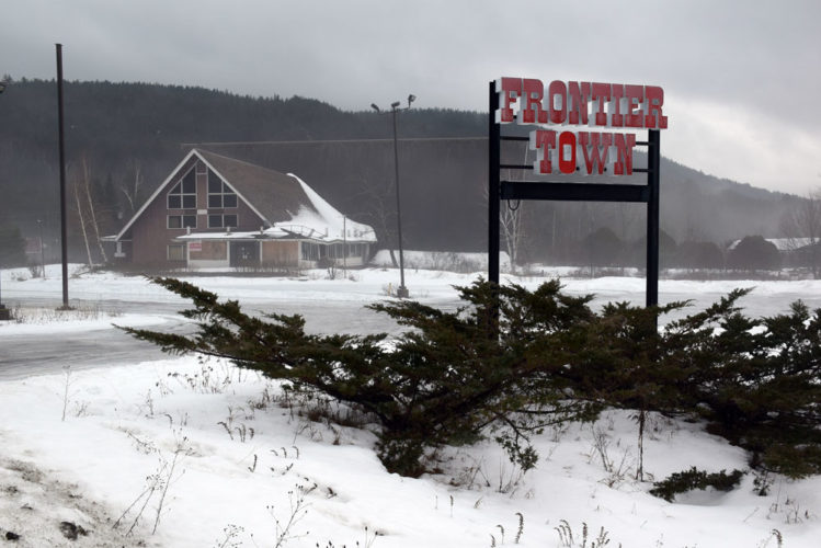 The A-frame main lodge of the former Frontier Town theme park sits just off of Interstate 87's Exit 29 in North Hudson in January. (Enterprise photo — Justin A. Levine)
