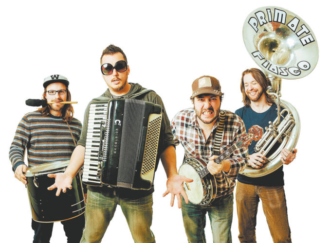Primate Fiasco is, from left, drummer Will Sigel, accordion player and vocalist Drake Descant, banjo player and vocalist Dave Russo and sousaphone player Kevin LaRose. (Photo provided)