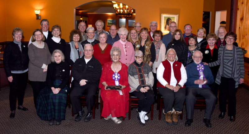 """The king and queen of this year's Saranac Lake Lake Winter Carnival will be announced tonight at the Coronation ceremony that kicks off the 10-day festival. Many previous members of the royal family attended the Past Royalty Dinner Thursday evening at the Red Fox Restaurant. Seated from left are Thomasina Gallagher (Q 2006), Ed McCarthy (K 1983), Shirley Hosler (Q 1994), Natalie Laduc (Q 1951), Dale McGinnis (Q 1991) and Walter """"Bud"""" Duffy (K 2002). Standing in the middle row from left are Marilyn Bigelow (Q 2007), Linda Jackson (Q 2015), Cherie Racette (Q 2013), Beryl Szwed (Q 2000), Annie Fina (Q 1988), Ruth Sofield (Q 2005), Dorothy Metz (Q 2014), Jessica Deeb (Archbishop 2002), Cherie Fisher (Q 2011), Kathy Ford (Q 2016), Barb Martin (Q 2002), Pat Brown (Q 1999), Donna Dora (Q 2004) and Holly Hahne (Court 1972). Standing in the back from left are Steve Racette (K 2015), Roger Steinbreuck (K 2009), Rip Allen (K 2005), Michael Kilroy (K 1996), Tim Fortune (K 2012), Ron Keough (K 1986), Charlie Martin (K1994), Jim Bishop (K 1993), Kelly Morgan Duprey (Q 2012), Bob Brown (K 1999). Missing from the picture but present at the dinner was Ray Dora (K 2004). (Photo provided — Mark Kurtz)"""