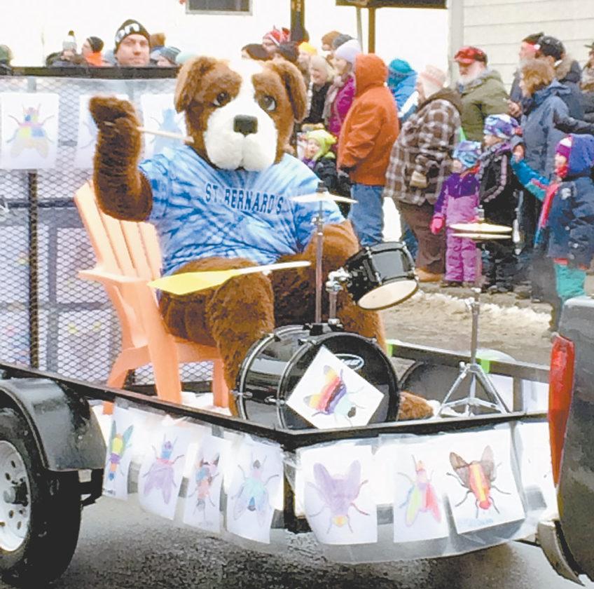 "St. Bernard's School mascot Bernie is the drummer for the ""Blackfly Bug Band."" (Enterprise photo — Don Hare)"