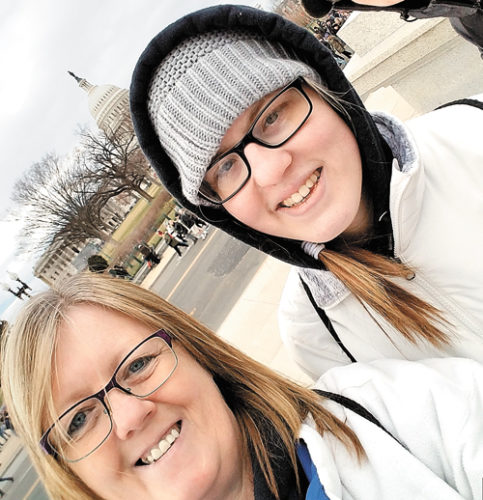 Lisa Reed of Tupper Lake and her granddaughter Kaitlyn Rabideau, a sophomore at Tupper Lake High School, took this selfie atop the steps of the Library of Congress in Washington D.C. on Jan. 27 during the 44th annual March For Life. (Photo provided — Lisa Reed)
