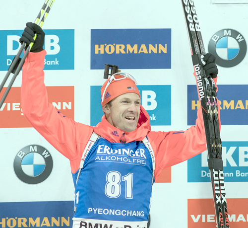Lowell Bailey, of Lake Placid, celebrates after winning the silver medal in the 10-kilometer World Cup biathlon event Friday in Pyeongchang, South Korea. (Photo — U.S. Biathlon/Nordic Focus)