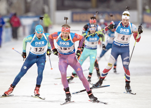Lowell Bailey, of Lake Placid, leads a pack of skiers Sunday during the 4x7.5-kilometer men's biathlon relay race at the IBU World Cup event in Pyeongchang, South Korea. Bailey was given USOC's Best of February award this week. (Photo — U.S. Biathlon/Nordic Focus)