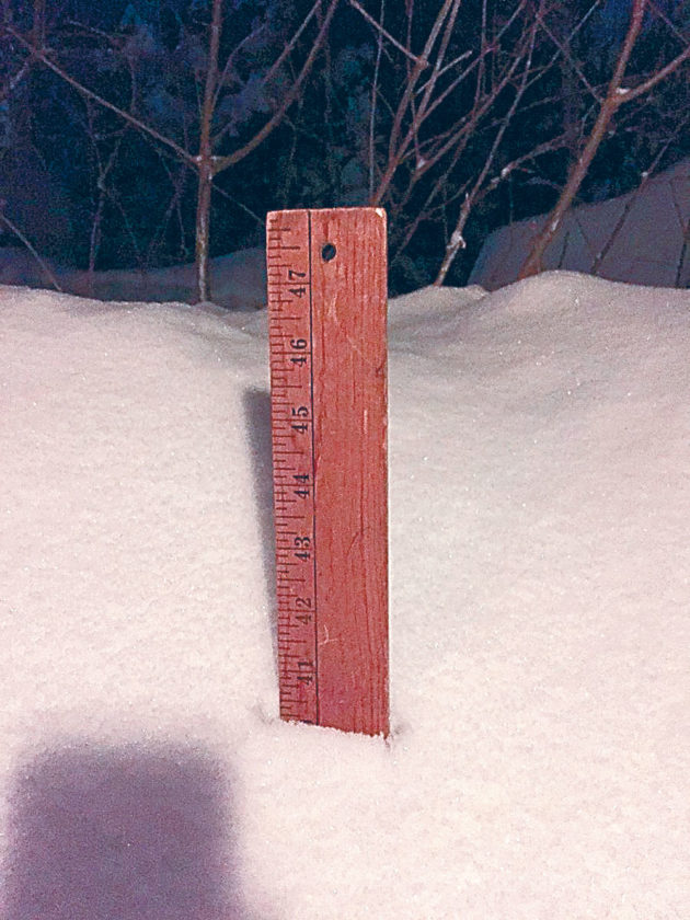 The Regional Office of Sustainable Tourism reported more than 40 inches of snow this morning in Lake Placid. (Photo provided — ROOST)