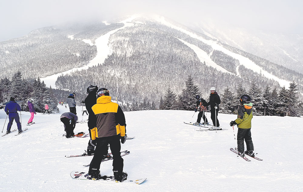 Skiers take to the slopes of Whiteface Mountain Thursday after Winter Storm Stella dropped 44 inches of snow on the mountain, making for perfect conditions. (Enterprise photo — Chris Knight)
