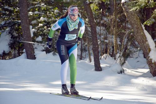 Eliza Thomas double poles while heading toward the biathlon area of the 25-kilometer classic Loppet race Saturday. (Enterprise photo — Justin A. Levine)