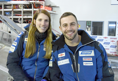 USA Luge veterans Erin Hamlin and Chris Mazdzer enjoy some downtime at the team's headquarters in Lake Placid following a rainy training session Friday on the track at Mount Van Hoevenberg. (Enterprise photo — Lou Reuter)