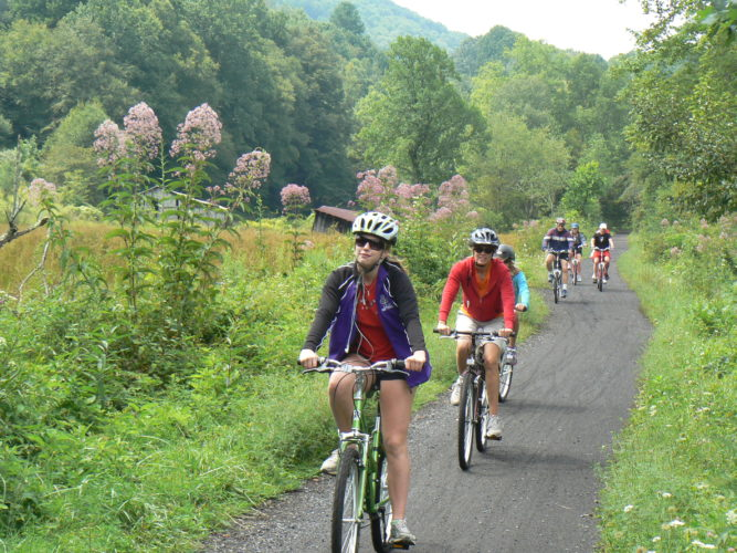 Bicyclists enjoying the popular Virginia Creeper Trail in the Blue Ridge Mountains of southwest Virginia. (Photo provided — Rails-to-Trails Conservancy)