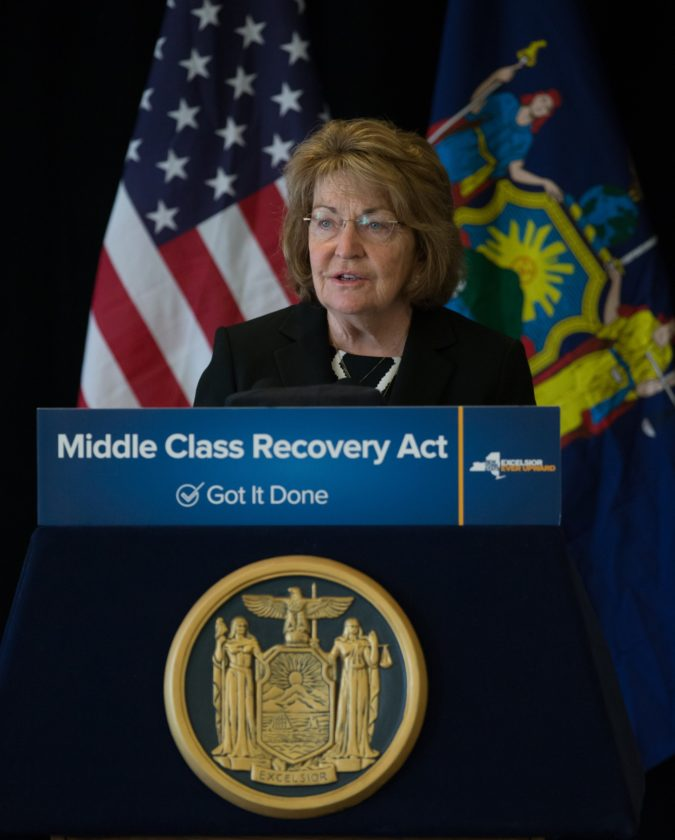 State Sen. Betty Little speaks Friday at the Lake Placid Conference Center during Gov. Andrew Cuomo's visit. (Philip Kamrass/ Office of Governor Andrew M. Cuomo)