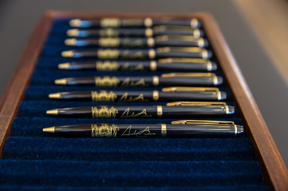 These are the pens Gov. Andrew Cuomo used to sign the ceremonial state budget bill Friday at the Lake Placid Conference Center. (Philip Kamrass/ Office of Governor Andrew M. Cuomo)