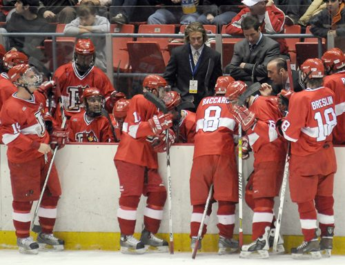 SUNY Plattsburgh head coach Bob Emery gathers his team for a timeout during the 2008 NCAA Division III men's ice hockey championship game against St. Norbert at the Olympic Center in Lake Placid. The contest marked the last time Plattsburgh reached the title game. The Cardinals will host the final four in Lake Placid at Herb Brooks Arena next year and again in 2022. Wisconsin Stevens Point beat St. Norbert to win the championship in Lake Placid in 2016. (Enterprise file photo — Lou Reuter)