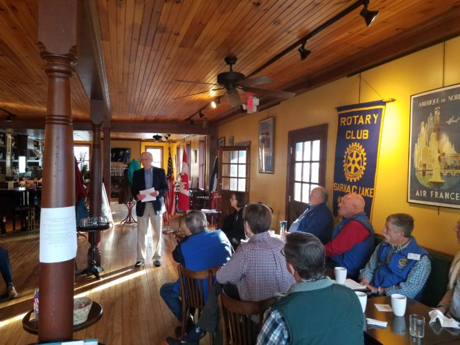 ​Paul Wilcott relates stories of kindnesses received while living abroad, particularly in Iraq and Jordan, to the Rotary Club of Saranac Lake at a recent meeting. The club meets each Tuesday at the Left Bank Cafe at 7:20 a.m. For more information about the Club contact us at saranaclakerotary@gmail.com. (Photo provided)
