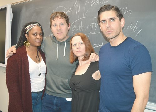 New York City-based spoken-word poets, from left, Lauren Whitehead, Jon Sands, Jeanann Verlee and Carlos Andres Gomez gather for a photograph Tuesday during the Listen Poetry Festival at North Country Community College in Saranac Lake. (Enterprise photo — Antonio Olivero)