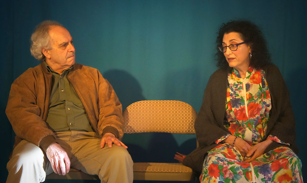 """Jordan Hornstein and Annie Scavo, playing a brother and sister, rehearse a tense scene from """"The Last Romance,"""" a play that opens tonight at BluSeed Studios in Saranac Lake. (Photo provided by Adirondack Stage Rats)"""