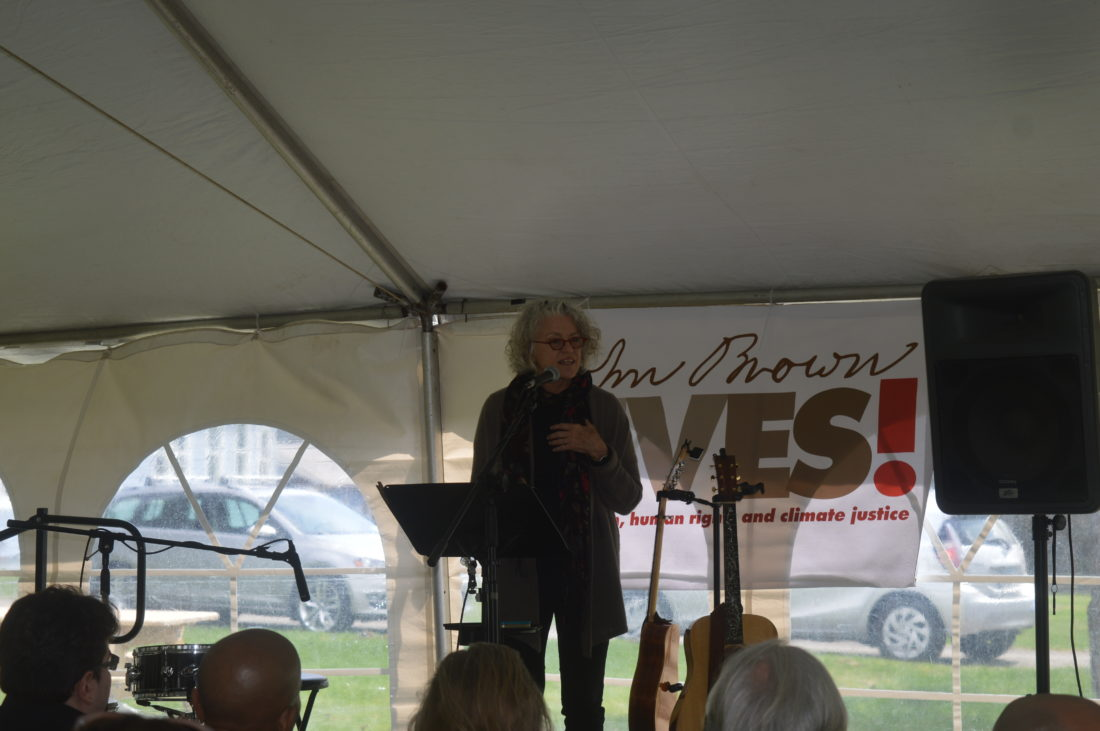 John Brown Lives! board member Jerilea Zempel speaks Saturday at John Brown Day. (Enterprise photo — Antonio Olivero)