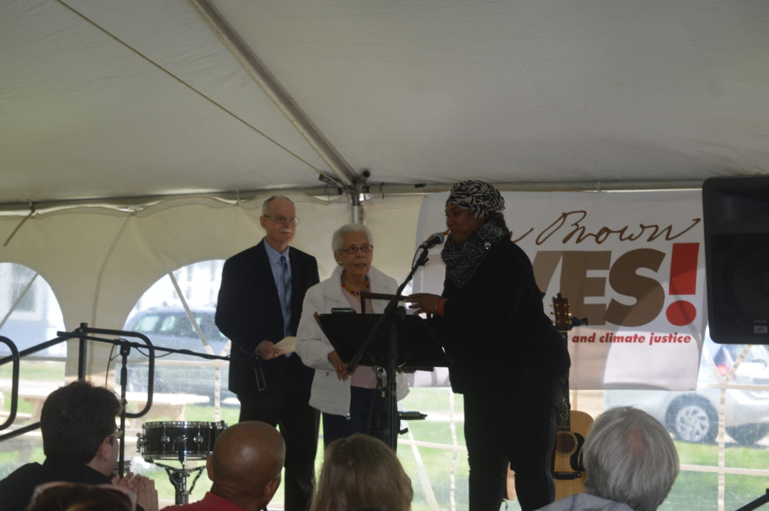 Don and Vivian Papson, the founders of North Star Underground Railroad Museum, receive their Spirit of John Brown Freedom award Saturday at the John Brown Farm State Historic Site in Lake Placid. (Enterprise photo — Antonio Olivero)