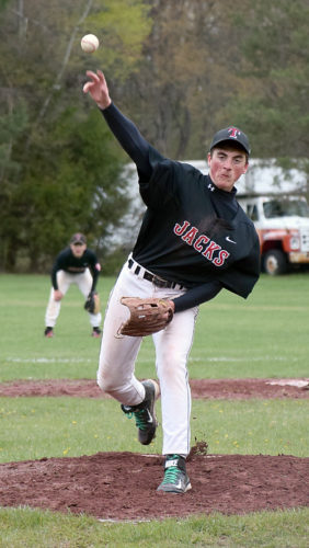Mike Hyde throws a pitch during Tuesday's doubleheader games against Madrid-Waddington in Tupper Lake. (Enterprise photo —Justin A. Levine)