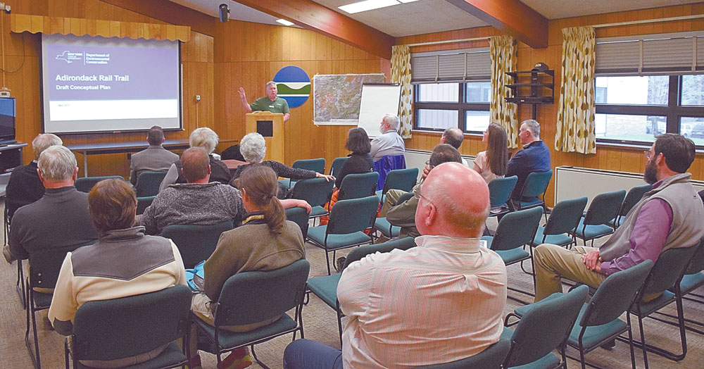 About 20 people attend a public meeting on the Adirondack Rail Trail conceptual plan Wednesday at the state Department of Environmental Conservation Region 5 headquarters in Ray Brook. (Enterprise photo — Justin A. Levine)