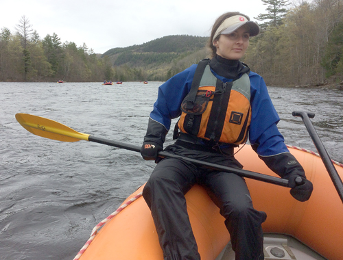 Melody Blackmore, a Tupper Lake resident and guide with Adirondac Rafting Company, scans the Hudson River during a recent whitewater rafting trip Sunday, May 7. (Enterprise photo — Justin A. Levine)