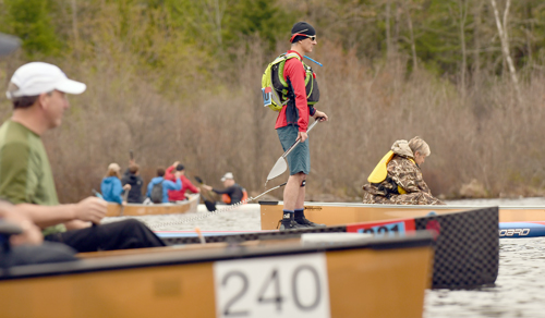 David Casey, of Burlington, Vermont, was the lone standup paddle board entry in Saturday's annual Round the Mountain Canoe and Kayak Race. (Enterprise photo — Lou Reuter)