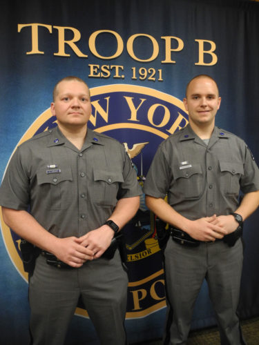 Two new state troopers, Chris Markwica, left, and Joseph Lapointe, reported for their first day of work on Monday at the Troop B headquarters in Ray Brook.  (Enterprise photo — Ben Gocker)