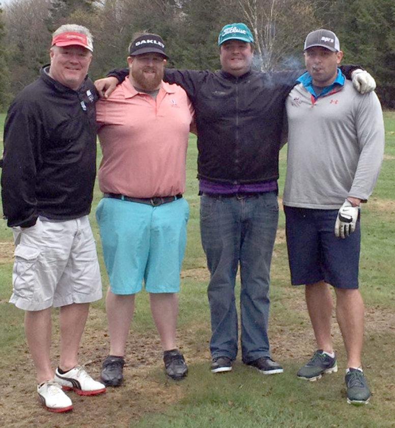 Team Wheeler — Chip Wheeler, Rob Mullarney, Rob Kane and Keegan Vize — wins the Saranac Lake Volunteer Fire Department's fifth annual Golf Tournament Saturday at the Saranac Inn Golf Club. (Photo provided by the SLVFD)