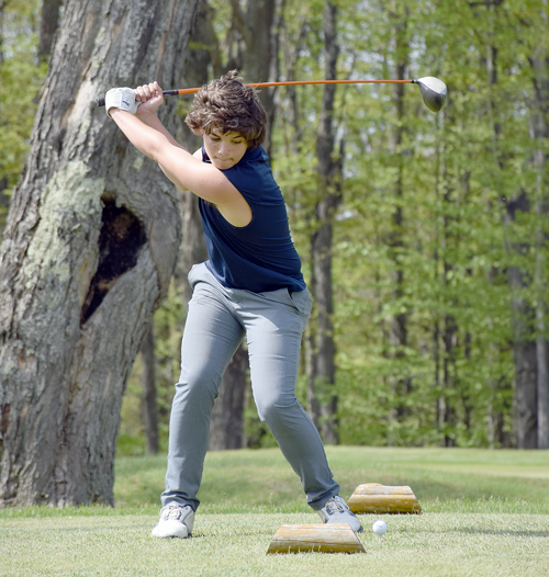 Bryce Davison tees off on the first hole at the Tupper Lake Golf Club on Thursday afternoon during a match against Norwood-Norfolk. (Enterprise photo — Justin A. Levine)