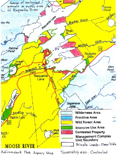 This map shows land parcels in red that were contested for more than a century between private holders and the state of New York. Now the owners of these 216 parcels have clear titles thanks to a deal by which the state used money from these owners to buy the Marion River Carry land, just off this map to the right.
