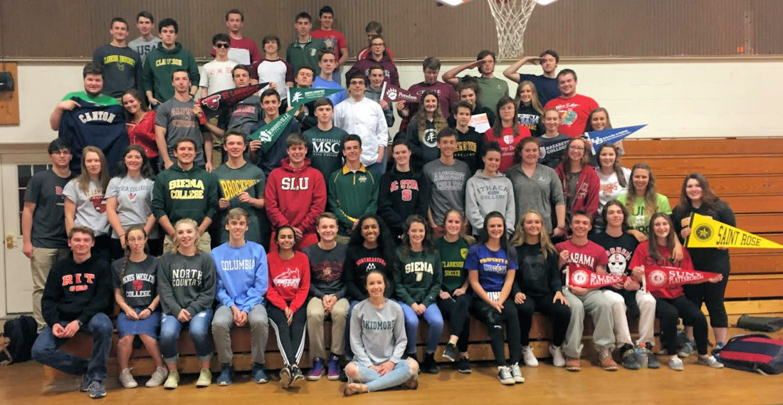 On May 9, Saranac Lake High School seniors wore shirts from the colleges they plan on attending next year or for the professions they would be entering when they finished high school. (Photo provided)
