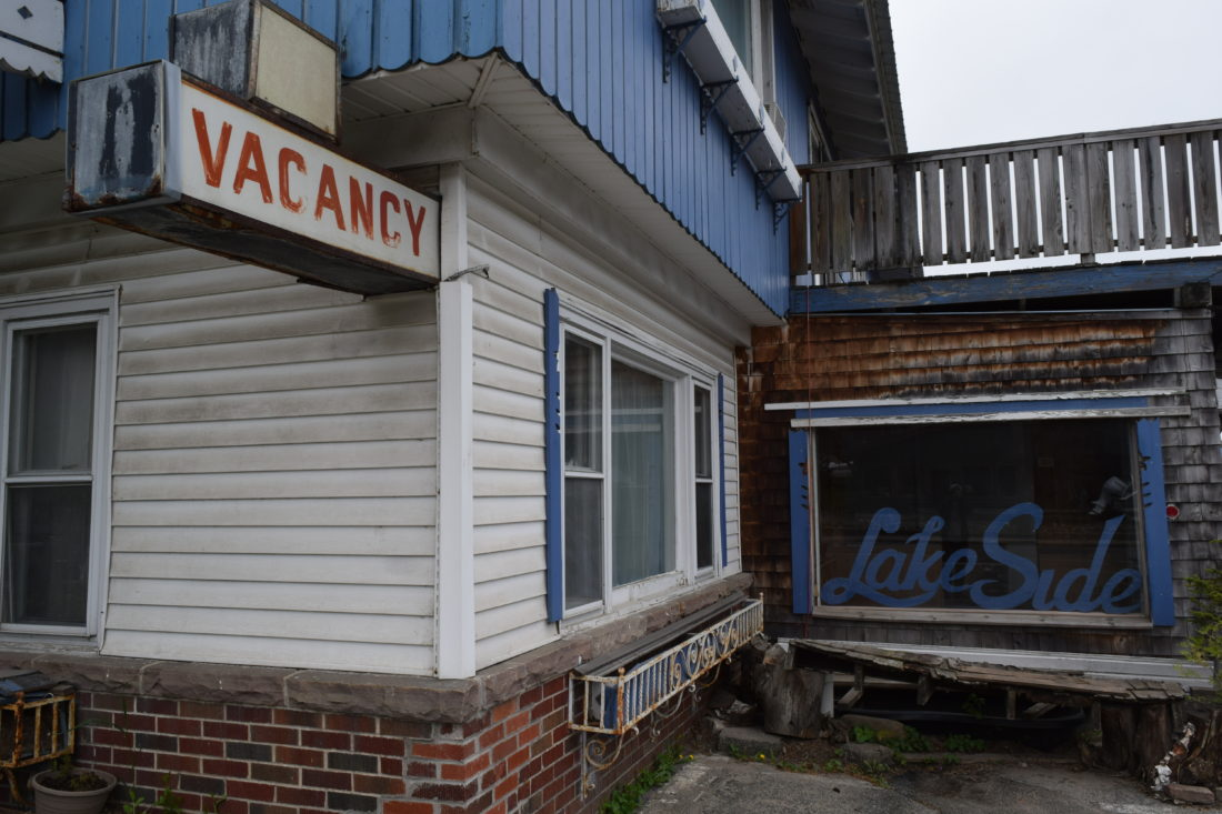 The office of the Lake Side Motel, now closed, is seen Friday on Lake Flower Avenue on Saranac Lake. It's one of three motels that would be demolished for a proposed four-story, 90-room resort. (Enterprise photo — Chris Knight)