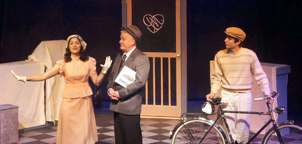 "From left, Olivia Zeis, Lonnie Ford and Jameson Batt play staff of a Budapest perfume shop in ""She Loves Me,"" a Community Theatre Players production at Pendragon Theatre in Saranac Lake.  (Photo provided by Community Theatre Players)"