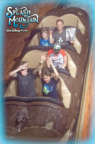 Even a '60s Splash Mountain waterfall couldn't stop the Wilson family from reading the Adirondack Daily Enterprise during their vacation to Disney World.
